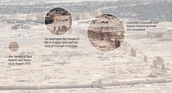 "From The Guardian's ""Palmyra after Isis: a visual guide"" (""Archaeologists feared they would find widespread devastation after Palmyra was recaptured from Islamic State by pro-Assad forces in March. While the ancient city's most famous monuments were desecrated, other notable artefacts survived and experts hope the whole site will be restored."") Friday April 8, 2016"