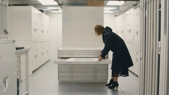 MoMA Curator Sarah Meister in the cold storage archives.