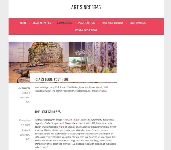 Figure 2. Art Since 1945 blog page