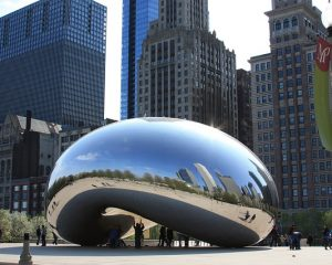 Chicago Gateway Park with Anish Kapoor sculpture