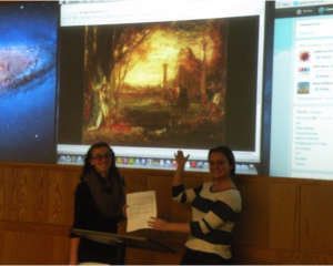 "Student playing Gustave Moreau receiving ""Critic Ticket"" from student playing Josephin Sar Peladan"